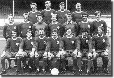 Leicester City 1968/69 - Back: Fern, Cross, Roberts, Gibson. Middle: Sjoberg, Stringfellow, Shilton, Woollett, Mackleworth, Bell, Clarke. Front: Rodrigues, Nish, Tewley, Hutchins, Potts, Manley, Glover