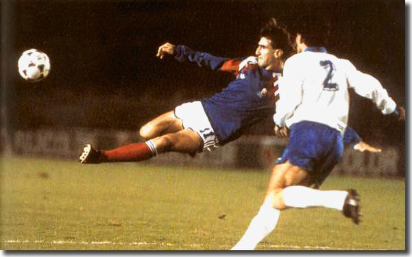 Cantona in action for France against Cyprus in November 1989 - his outburst about French manager Henri Michel threatened to make this a rare sight