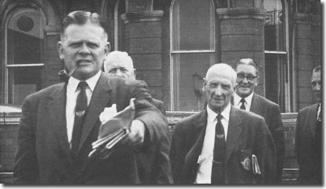 Football League conference in the summer of 1959 in Blackpool - Hardaker is accompanied by  Harry French, Wilf Taylor, Joe Mears and Len Shipman