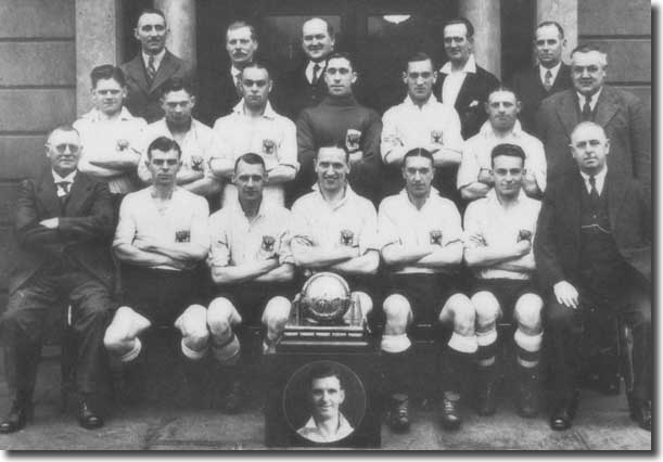 Hardaker is extreme left of the middle row of this East Riding County FA Amateur XI line up, which won the Northern County championship in 1935