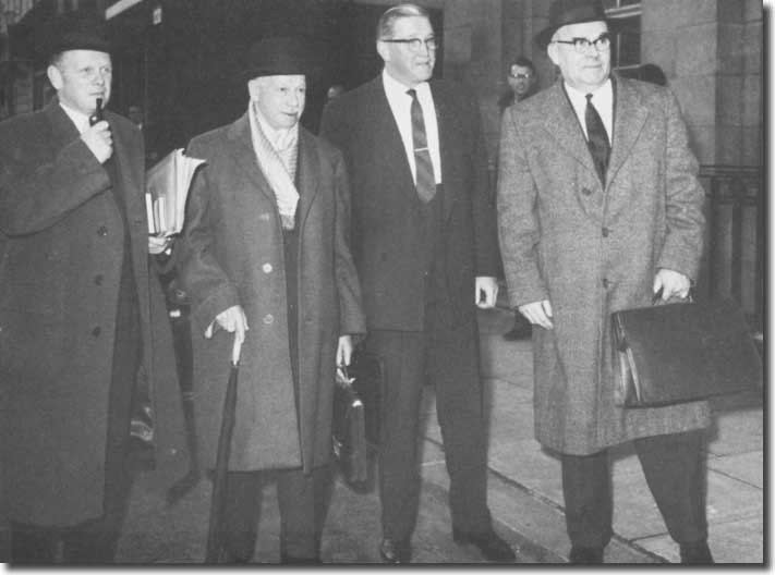 The League Management Committee representatives arrive at the Ministry of Labour for discussions on the Maximum Wage - Alan Hardaker, President Joe Richards,  Joe Mears and Graham Doggart