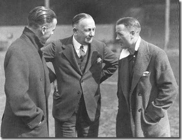 Herbert Chapman (centre) with two of his stars at Highbury - Bob John and Alex James