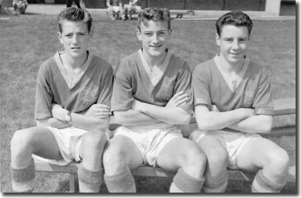 16-year-old Norman Hunter, Rod Johnson and Stuart Silverwood in their days as Elland Road juniors in 1961
