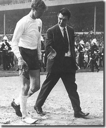 Jack limps off at half time in England's defeat against Scotland in 1967