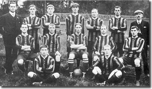 The Hull City side that pushed so hard for promotion in 1910 - McQuillan is to the right of the front row
