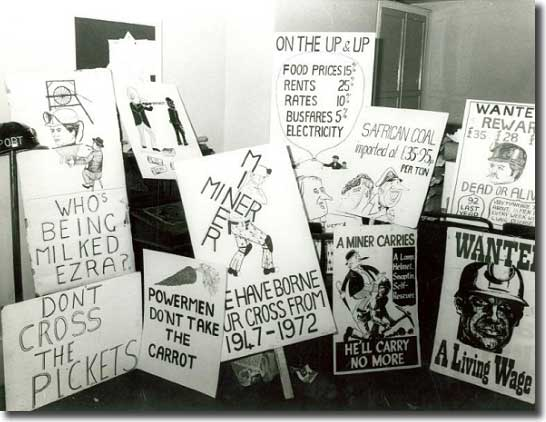 Miners' placards from 1972