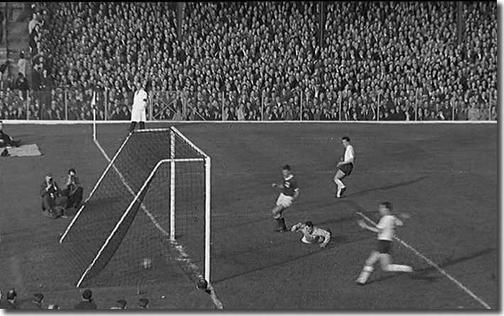 Mike O'Grady (top) nets his first goal for England against Northern Ireland in October 1962