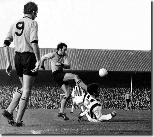 Mike O'Grady teases the West Bromwich Albion defence for Wolves in November 1969 when he scored a late winner