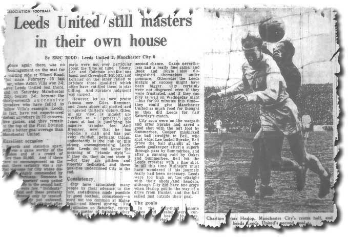The Guardian of 25 March 1968 featuring United's win over Manchester City and a picture of Jack Charlton's goal