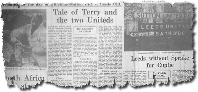 The Guardian of 23 January 1970 features the following day's Cup clash between Sutton and Leeds