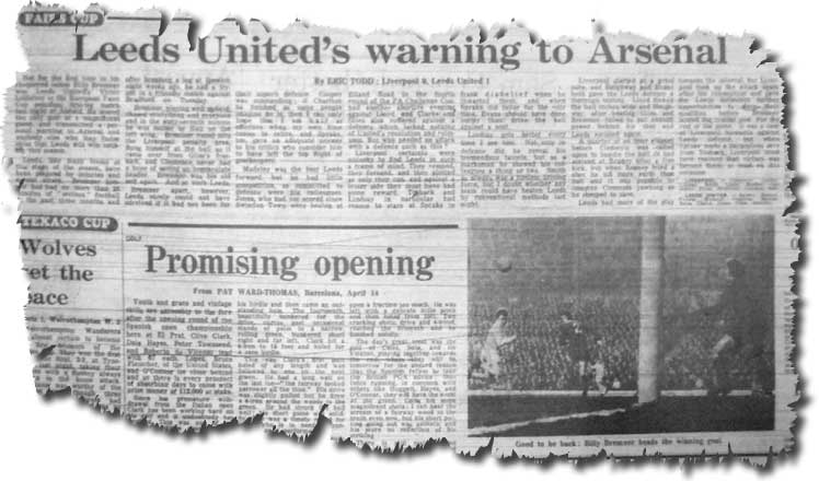 The Guardian of 15 April 1971 carries its report of the previous evening's Fairs Cup semi final, together with a photo of Bremner's goal