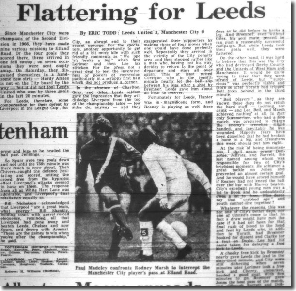 The Guardian of 27 November reports United's 3-0 defeat of Manchester City at Elland Road a couple of days earlier - the photo is of Paul Madeley facing up to City's Rodney Marsh