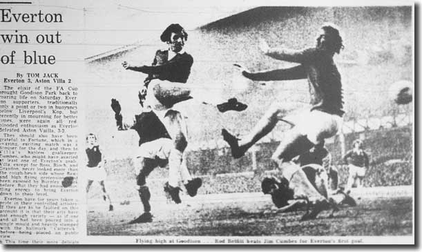 The Guardian of 15 January 1973 captures Rod Belfitt scoring in Everton's 3-2 FA Cup victory over Aston Villa