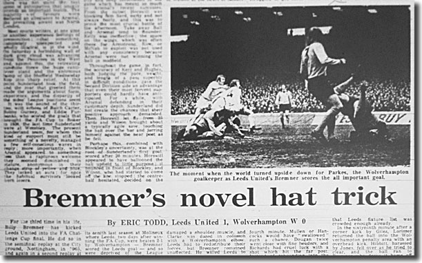 The Guardian of 9 April 1973 tells the tale of the weekend's FA Cup semi-final clash between Leeds and Wolves - the picture shows Bremner beating Parkes for the goal