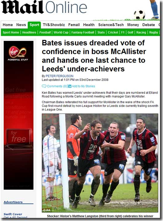 Mail Online features United's shock defeat at Histon and reports on Ken Bates' vote of confidence in Gary McAllister