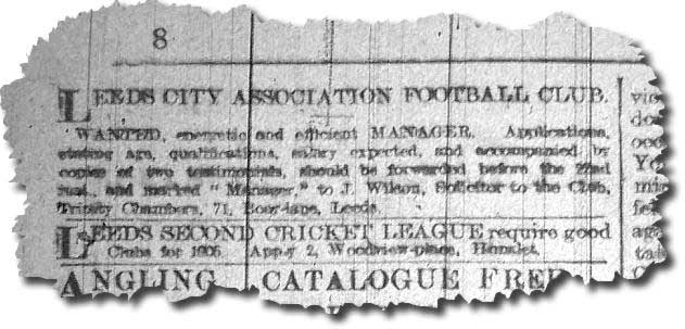Yorkshire Mercury 13 February 1905 - Leeds City advertise for their first manager