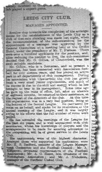 Leeds Mercury 7 March 1905 - The appointment of Gilbert Gillies as the first Leeds City manager
