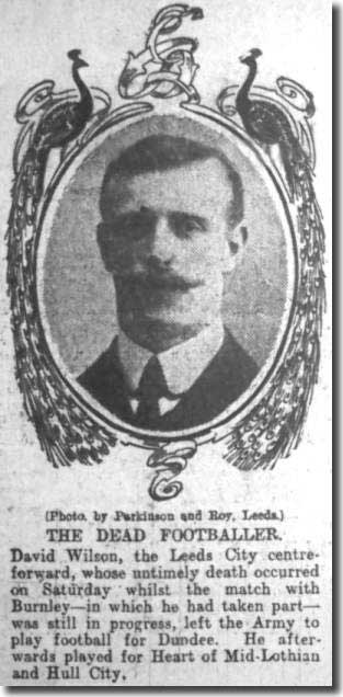 The Leeds Mercury of October 30 1906 carrying a tribute to David Wilson after his death during the match with Burnley