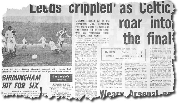 The Daily Mirror of 16 April 1970 features the previous evening's Euro clash between Celtic and Leeds