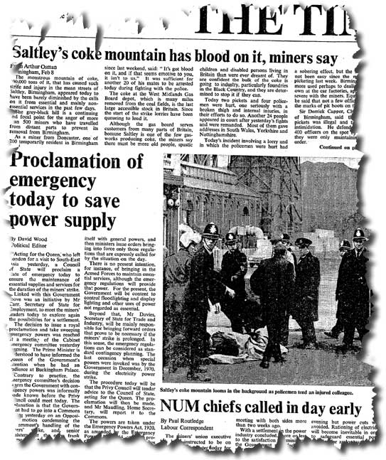 The front page of the Times on 9 February reports the proclamation of emergency