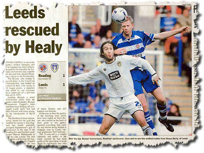 The Sunday Times of 30 October 2005 features the previous day's draw at Reading - Reading goalscorer Brynjar Gunnarsson rises above Shaun Derry