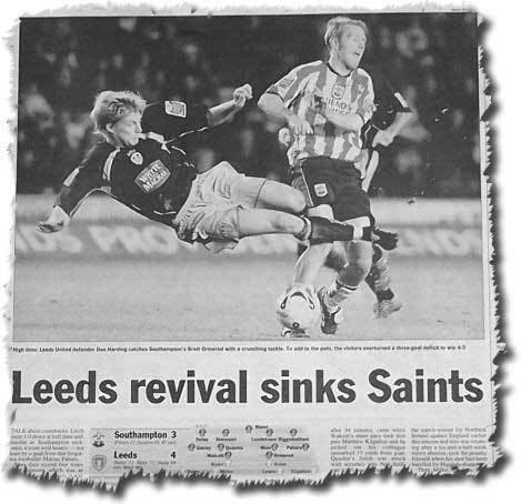 Sunday Times of 20 November 2005 featuring Leeds' stunning fightback at Southampton - Dan Harding launches a crushing tackle on Brett Ormerod