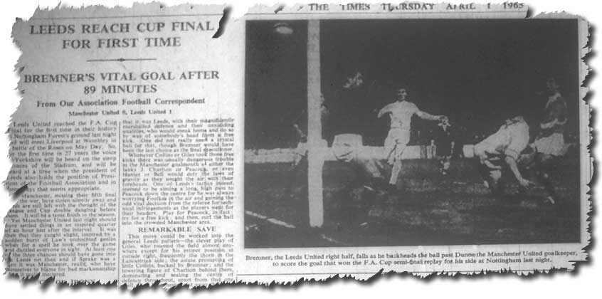 The Times 1 April 1965 featuring the victorious semi final replay against Manchester United and Billy Bremner's decisive goal