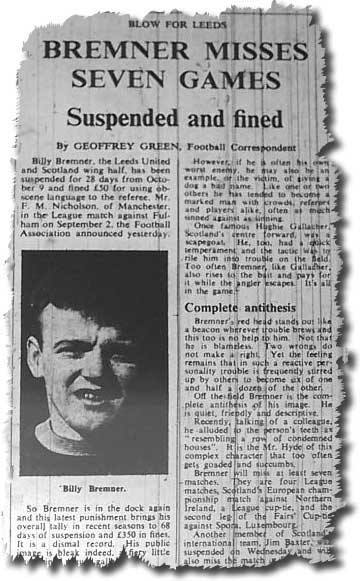 The Times of 6 October 1967 carries the news of Billy Bremner's suspension