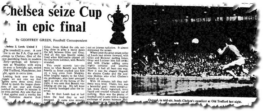 The Times of 30 April 1970 reports on the previous evening's Cup final replay