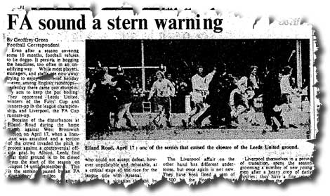 The Times of 11 June 1971 carries the news of Leeds United's ground closure