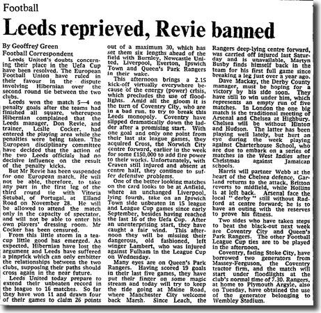 The Times of 17 November 1973 reports on UEFA's punishment of Don Revie for entering the pitch during the penalty shoot out against Hibernian