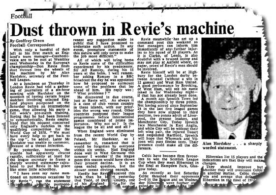 The Times of 26 October 1974 carries the news of Don Revie's spat with Football League secretary Alan Hardaker over releasing players for England duty