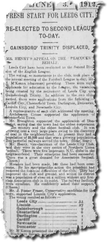 The Yorkshire Evening Post of 3 June 1912 carries the news of Leeds City's re-election