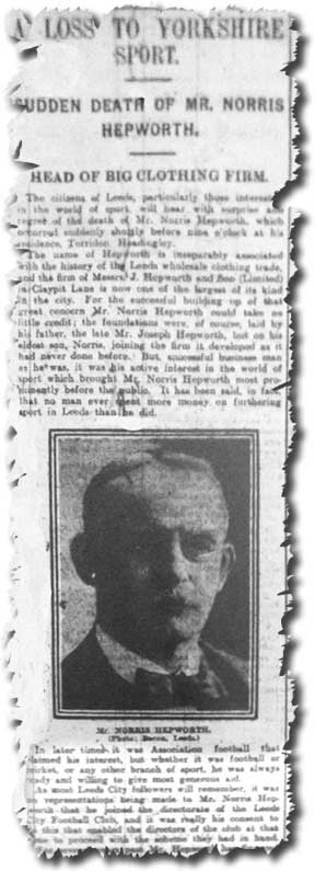 The Evening Post of 20 February 1914 reports on the death of City chairman Norris Hepworth