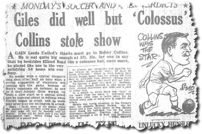 The Yorkshire Evening Post covers Collins' man of the match performance against Bury in September 1963