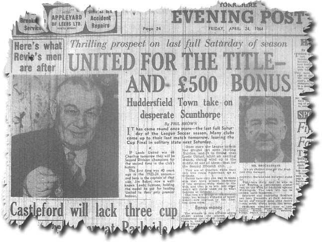 Yorkshire Evening Post 24 April 1964 - Leeds challenging for title - Jim Baker, captain of the 1923-24 Division Two winning side, with his medal