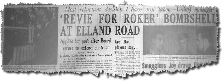 The Yorkshire Evening Post of 16 September 1964 carries the Revie for Roker bombshell