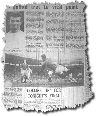 Yorkshire Evening Post 20 May 1966 featuring United's draw at Old Trafford which secured runners up spot - Paul Reaney's headed goal is pictured
