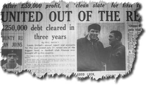 The Yorkshire Evening Post of 23 November reports Leeds United free of debt for the first time in the club's history