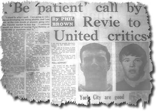 A Yorkshire Evening Post feature on Don Revie's call for patience over lack of transfer activity