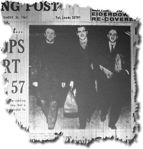 Yorkshire Evening Post 30 December 1967 - Jim Storrie pictured at Yeadon Airport with Rotherham manager Tommy Docherty and assistant manager Fred Green after signing for the Millmoor club
