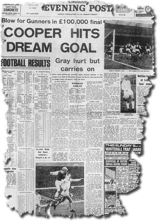 The Yorkshire Evening Post of 2 March 1968 carries the early news of the League Cup final