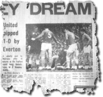 Yorkshire Evening Post of 27 April 1968 - Everton skipper Brian Labone appeals to referee David Smith while Colin Harvey receives treatment - it was a brutal clash