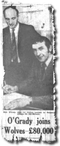 The Yorkshire Evening Post of 23 September 1969 carries the news of Mike O'Grady's transfer to Wolves