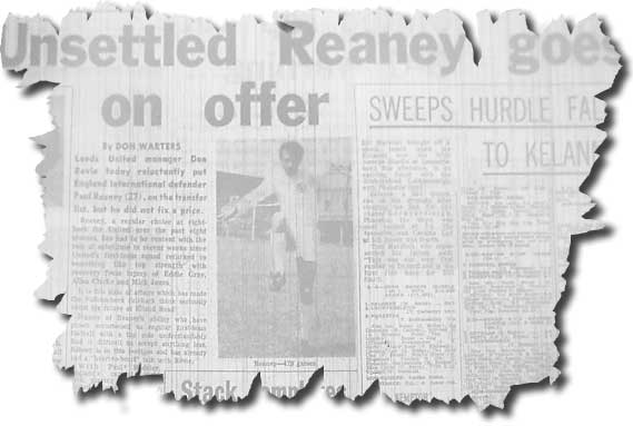 The Yorkshire Evening Post of 28 December reports on the transfer listing of Paul Reaney