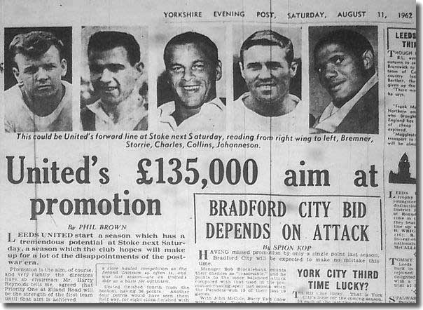 The Yorkshire Evening Post of August 1962 features United's all star forward line including Jim Storrie and John Charles