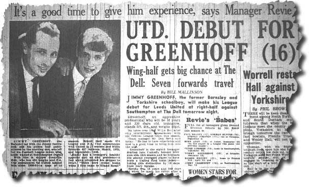 The Yorkshire Evening Post of 14 May carries the news of Greenhoff's first team debut