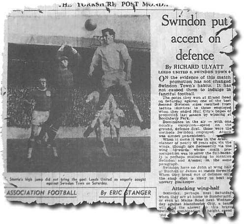 Yorkshire Post 19 September 1963 featuring a picture of Jim Storrie in aerial action in a goalless draw at home to Swindon
