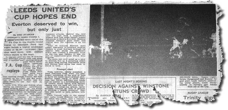 Yorkshire Post 29 January 1964 - Everton 2 Leeds 0 - Reaney, Sprake and Bremner are unable to prevent Vernon scoring