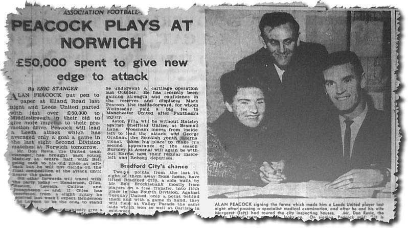 Yorkshire Post 7 February 1964 - Alan Peacock signs for Leeds, watched by his wife and Don Revie